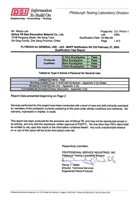 JAS Plywood Test Report